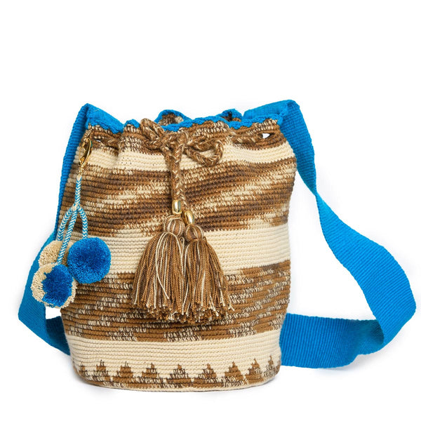 Coffee Woven Mochila Bucket Bag - 1