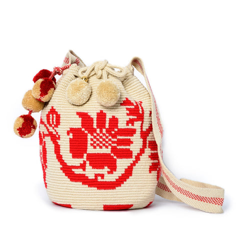 Flower Woven Mochila Bucket Bag - 1