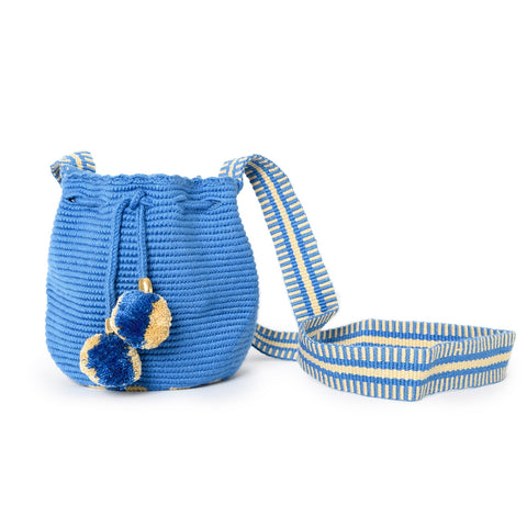 Mini Blue Jean Woven Mochila Bucket Bag - 1