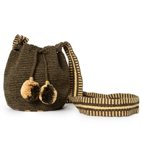 Mini Cappuccino Woven Mochila Bucket Bag - 1