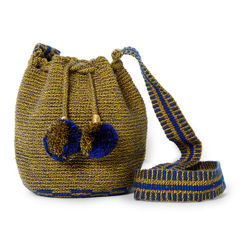Mini Striped Woven Mochila Bucket Bag - 1