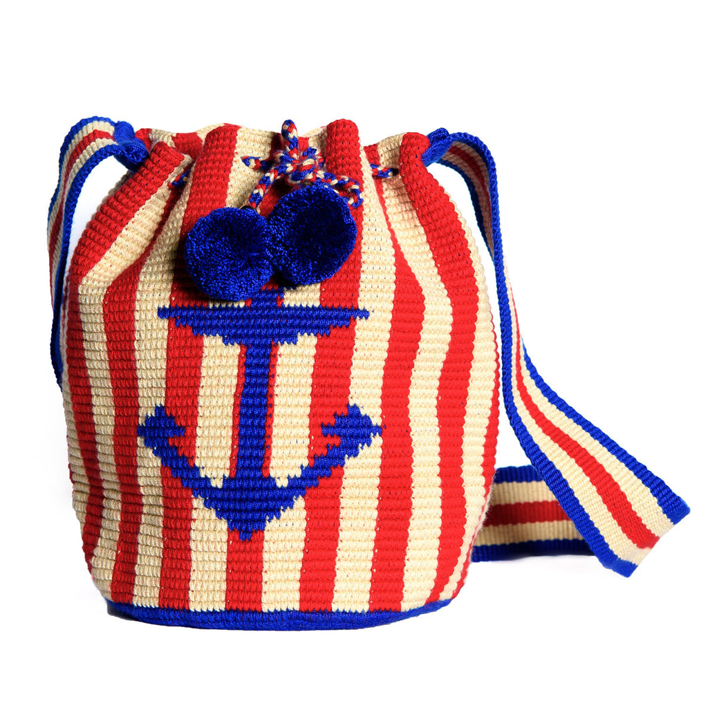Nautical Woven Mochila Bucket Bag - 1