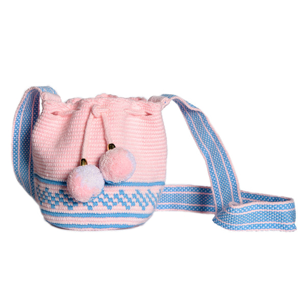 Mini Pink Woven Mochila Bucket Bag - 1