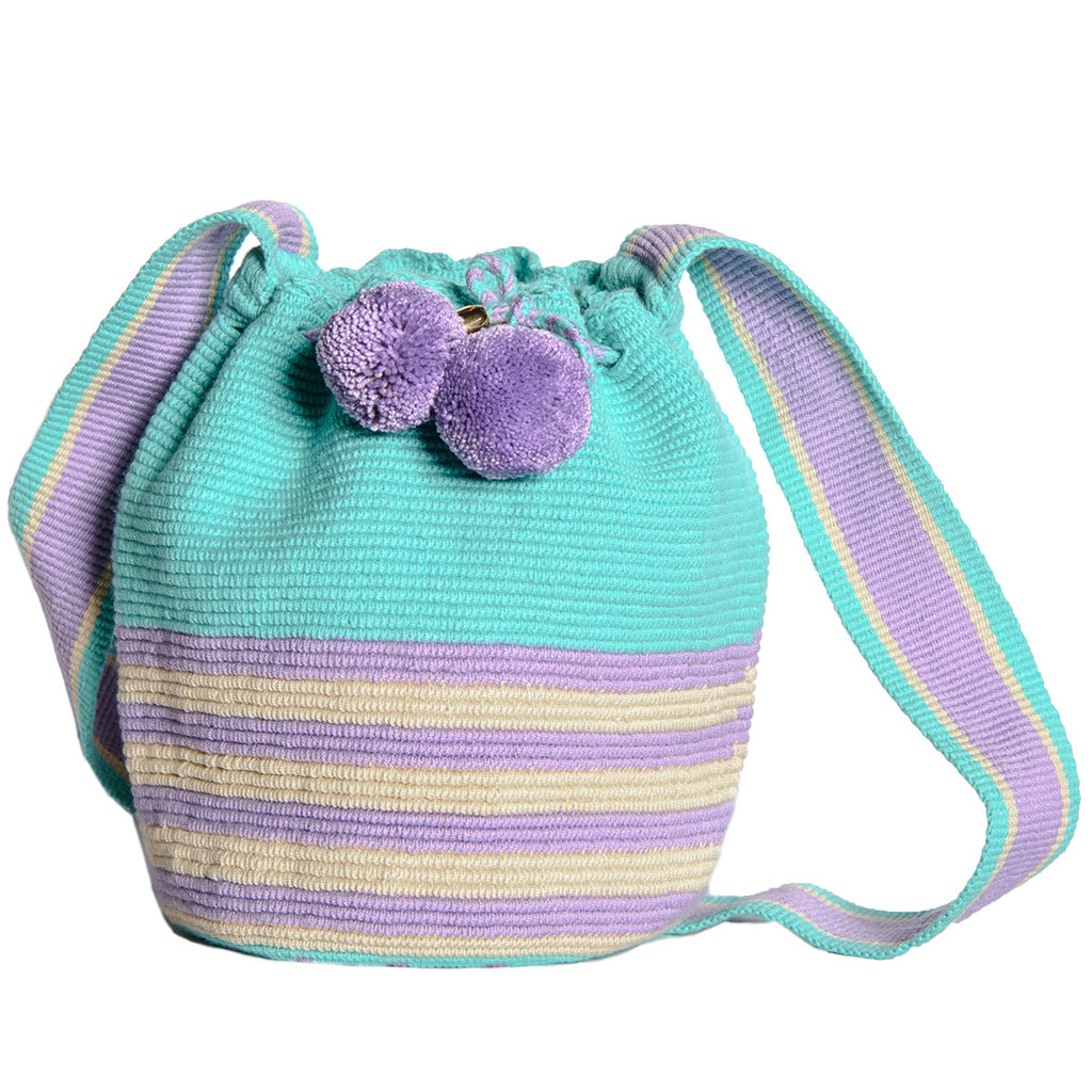 Summer Pastel Stripes Woven Mochila Bucket Bag - Main