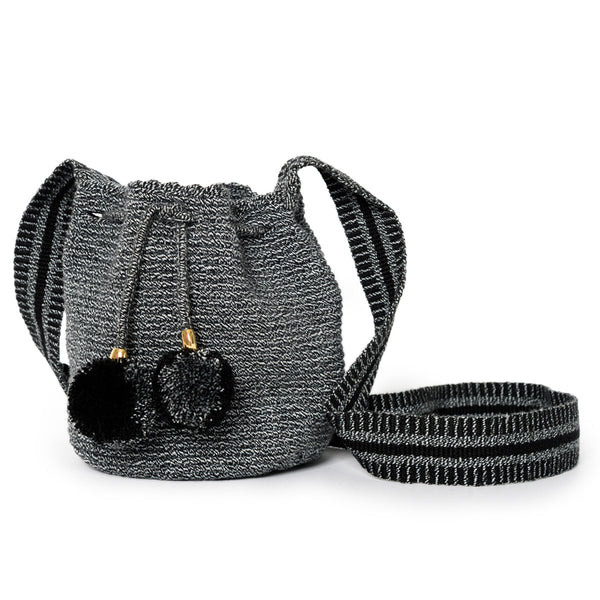 Mini Zebra Woven Mochila Bucket Bag - 1