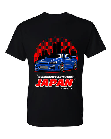 Tuned. 'R34 GTR: Overnight Parts' T-Shirt