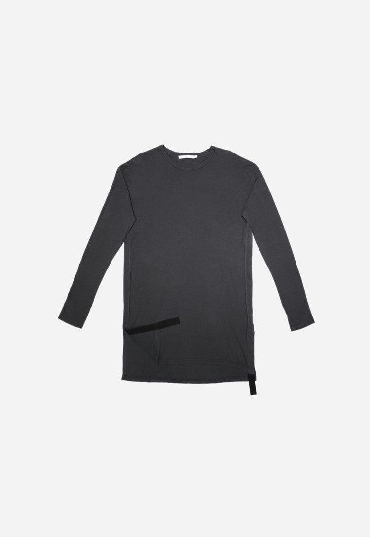Lotus - Long Sleeve Side Slit Crew Neck Tee (Washed Black)