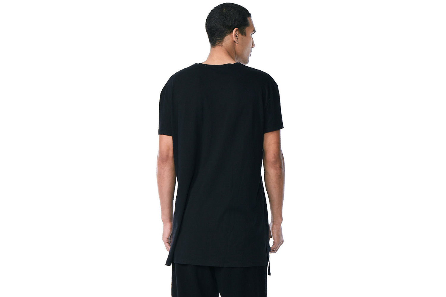 Lotus - Crew Neck Side Slit Tee  (Black)