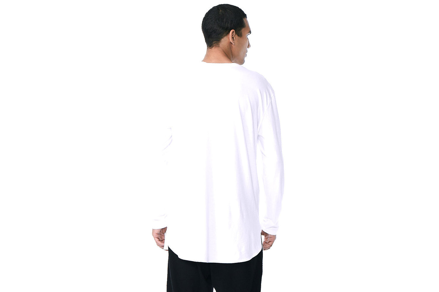 Wesley - Long Sleeve Crew Neck Extended Tee (White)