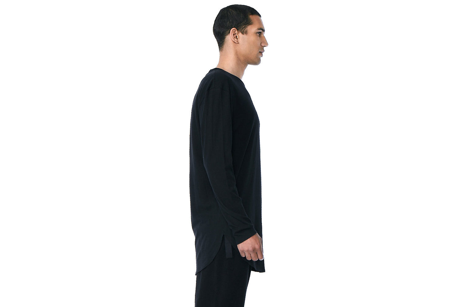 Wesley - Long Sleeve Crew Neck Extended Tee (Black)