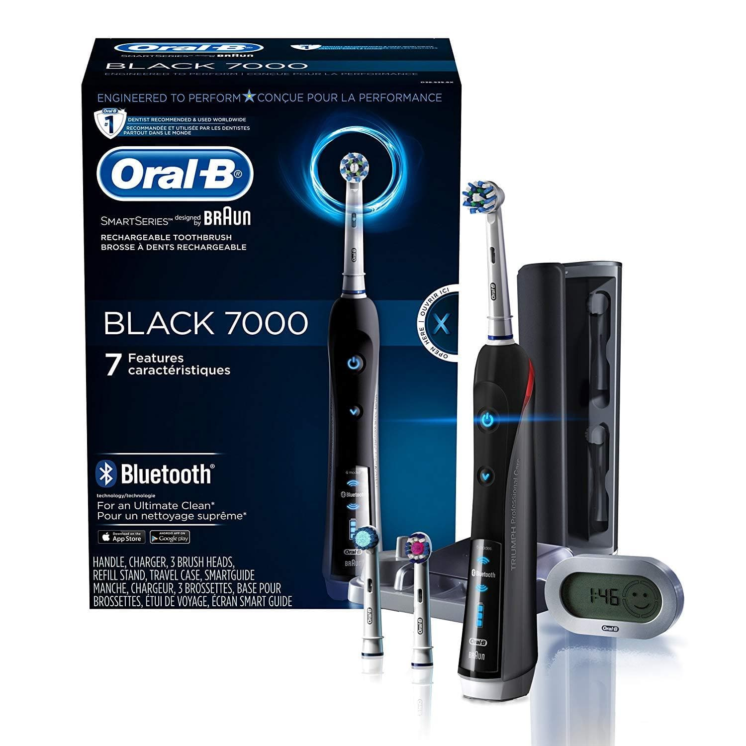 Oral-B - SmartSeries Pro 7000 Rechargeable Toothbrush with Bluetooth - Black - WiseTech Inc