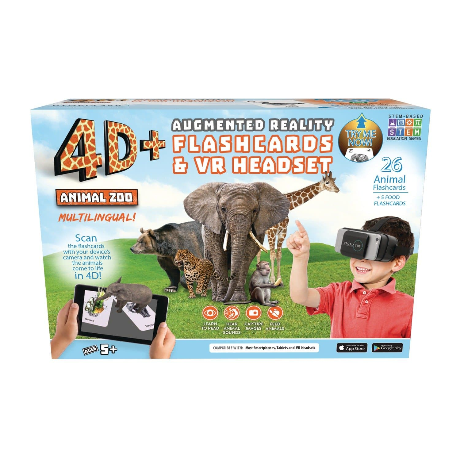 4D+ Utopia 360° Animal Zoo Augmented Reality Cards & VR Headset in 12 Languages
