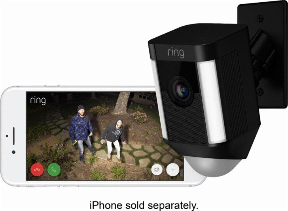 Ring Spotlight Indoor/Outdoor 1080p Wi-Fi Wireless Security Camera - Black (8SH5P7-BEN0) - WiseTech Inc