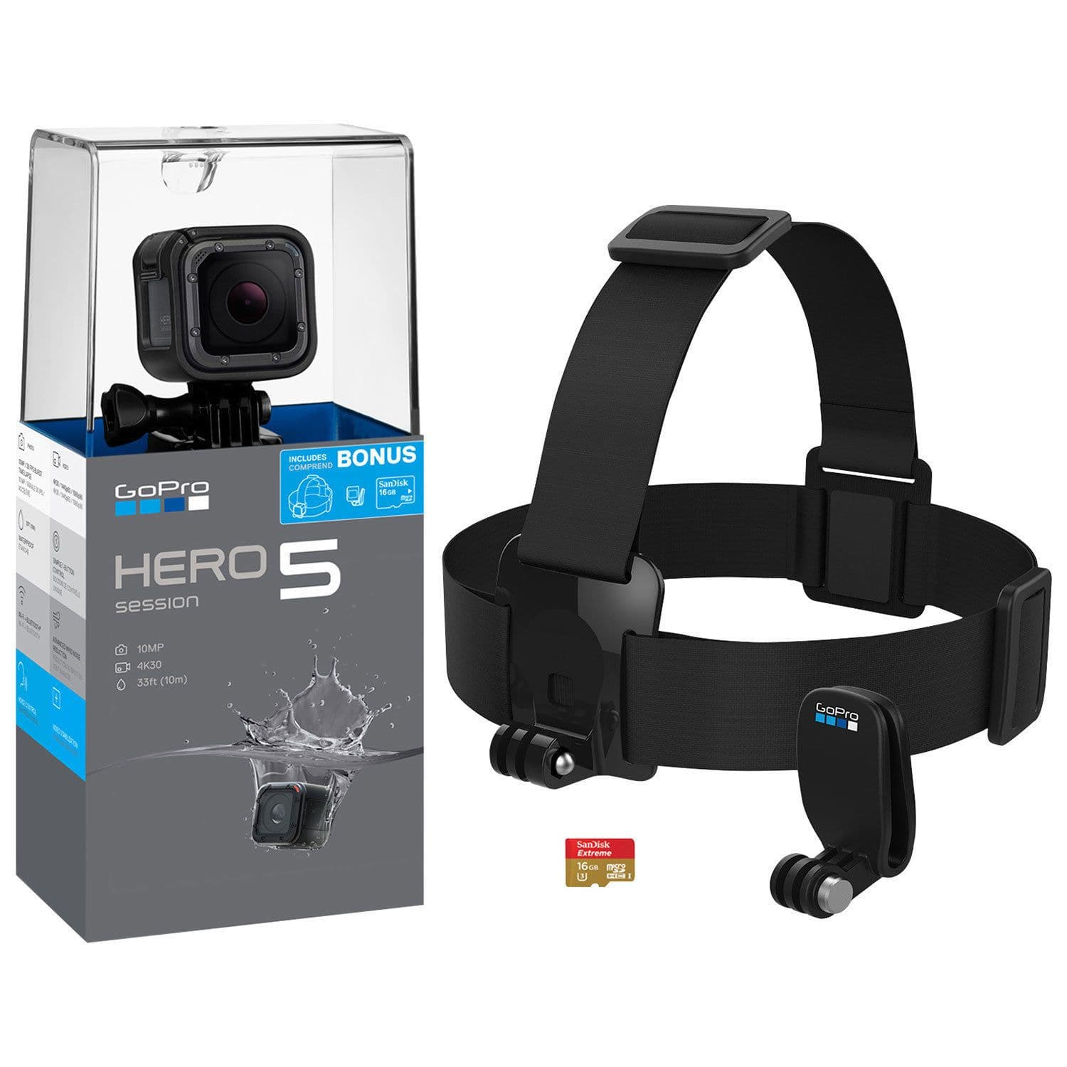 GoPro HERO5 Session Waterproof 4K Sports & Helmet Camera with Head Strap & Memor (CHDRB-501)