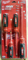 MILWAUKEE 48-22-2205 4 PC 1000V Insulated Screwdriver Set with Square Recess