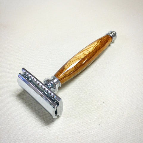 Handmade Custom Safety Razor with Zebra Wood Handle - The Carpenter's Shop