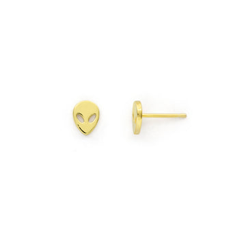 Alien stud earrings (gold or silver)