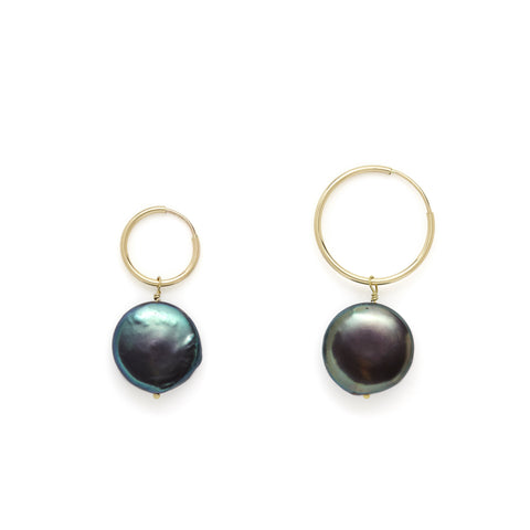 Coco charcoal fresh water pearl hoops