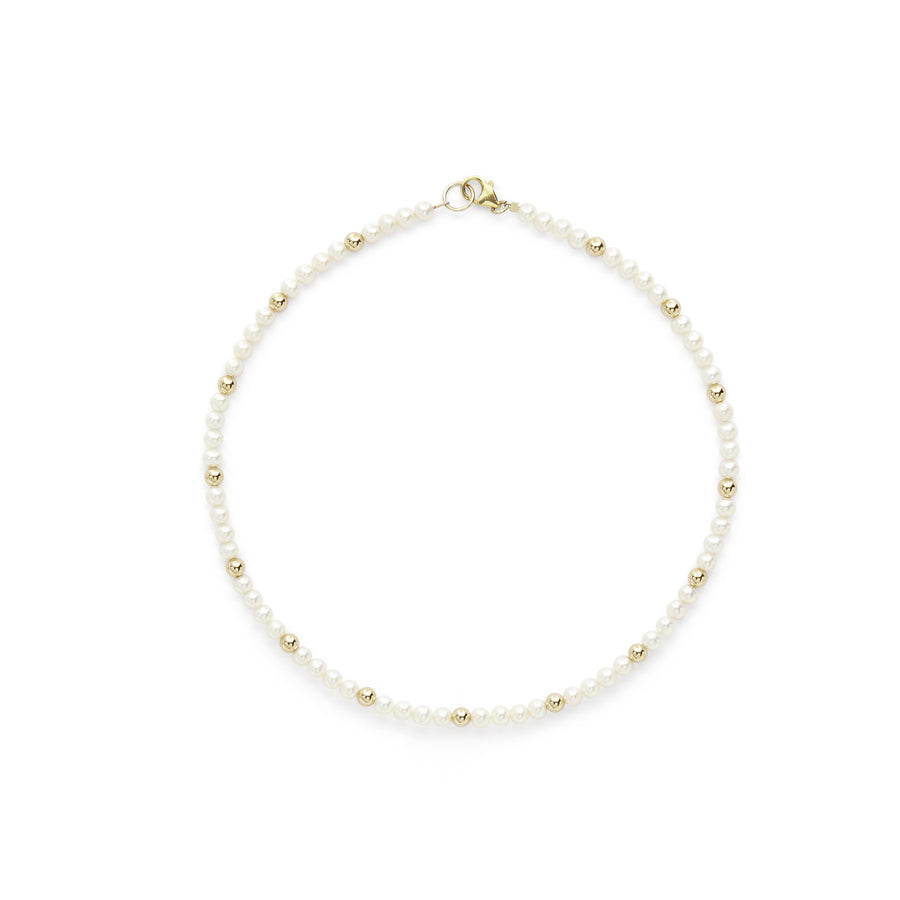 Diana gold bead + pearl necklace