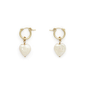 Eleanor pearl heart hoops