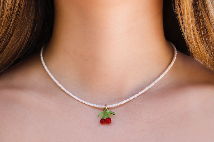 Camp cherry pearl necklace