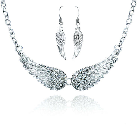 Angel Wings Necklace and Earrings Set