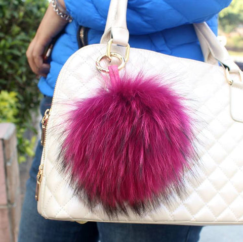 Trendy Real Fox Fur PomPom Key Chain Purse Charm