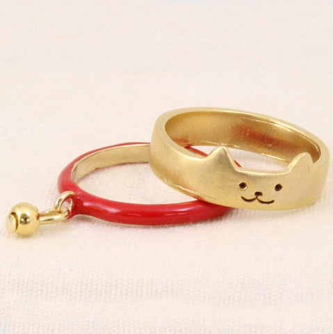 2 Piece Gold Plated Cat Ring with Pendant