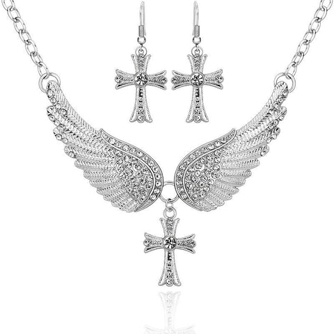 Angel Wings Cross Necklace & Earrings Set