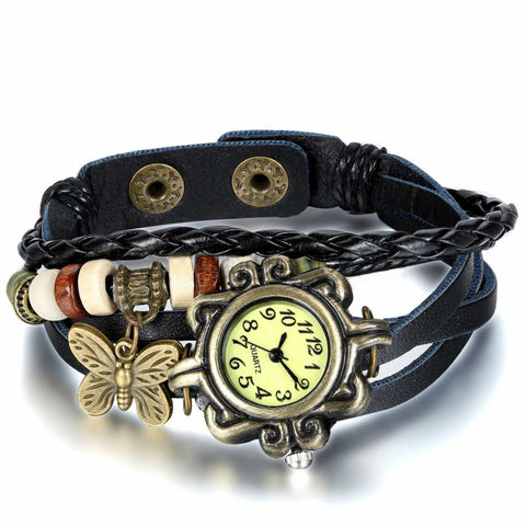 Womens Vintage Leather Bracelet Watch With Butterfly Pendant