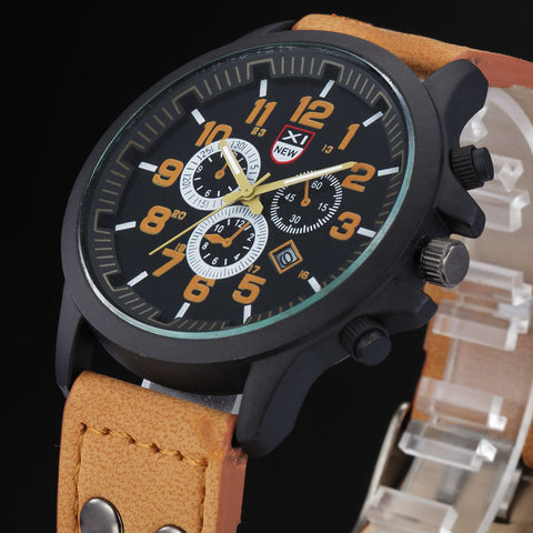 Rugged Waterproof Date Quartz Leather Watch