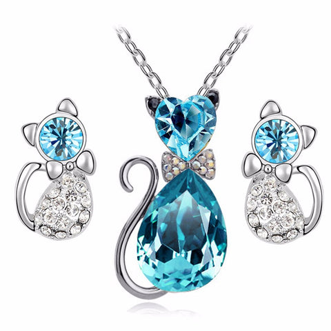 Crystal Cat Necklace & Earrings Set - 50% OFF