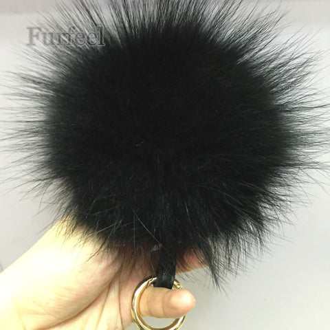 Trendy 14K Gold Plated Genuine Raccoon Fur PomPom Key chain