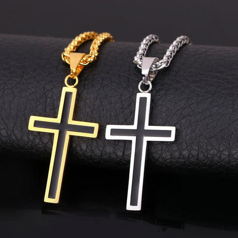 Cross Pendant Necklace (18k Gold or Stainless Steel)