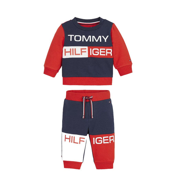 TOMMY HILFIGER - KID'S COLOUR BLOCK CREWSUIT TWILIGHT NAVY
