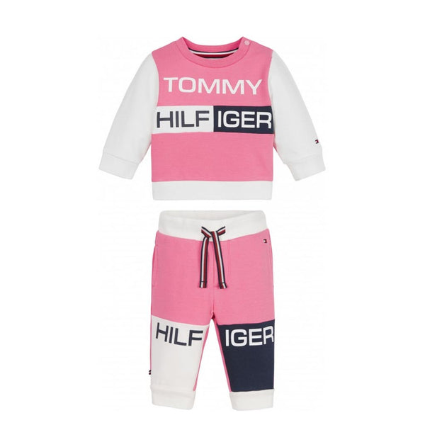 TOMMY HILFIGER - KID'S COLOURBLOCK CREWSUIT EXOTIC PINK