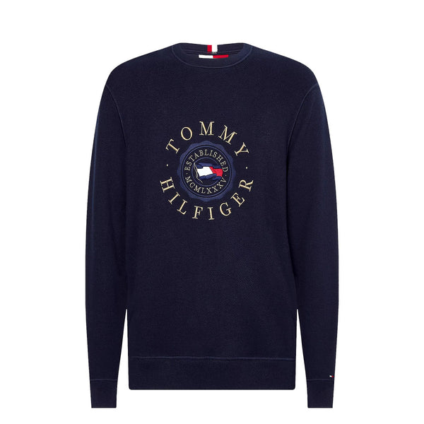 TOMMY HILFIGER - MEN'S STRUCTURED EMBROIDERY JUMPER DESERT SKY