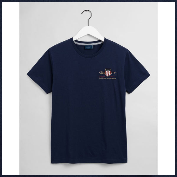 GANT - MEN'S D2 ARCHIVE SHIELD SS TEE EVENING BLUE