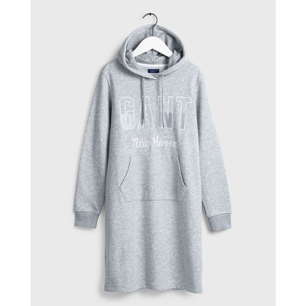 GANT - WOMEN'S N.H HOODIE DRESS LIGHT GREY