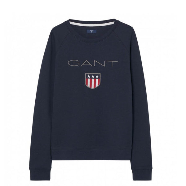 GANT - WOMEN'S SHIELD LOGO C-NECK EVENING BLUE