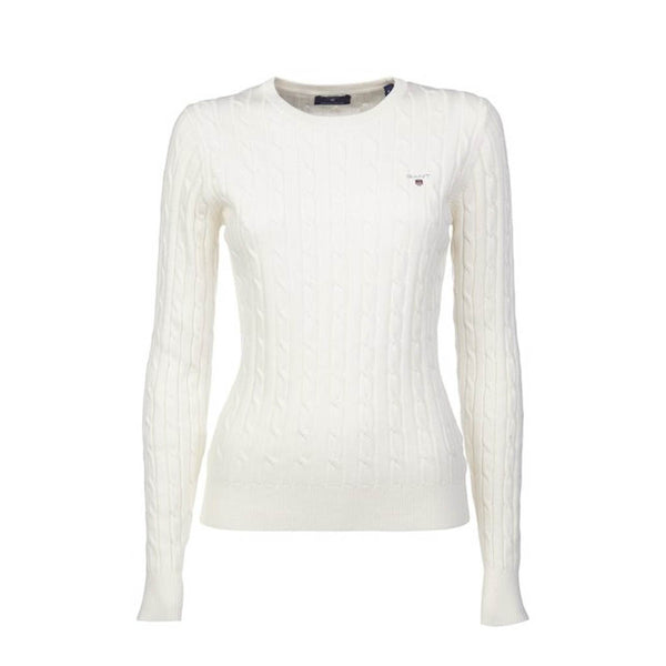 GANT - WOMEN'S STRETCH COTTON CABLE CREW EGGSGELL