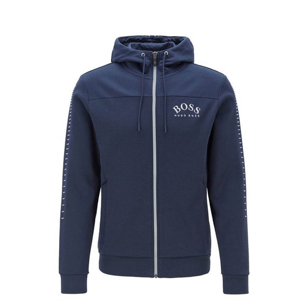 HUGO BOSS - 50418944 HOODED ZIP-THROUGH NAVY/SILVER