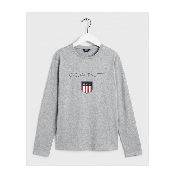 GANT - BOY'S SHIELD LOGO LONG SLEEVE GREY