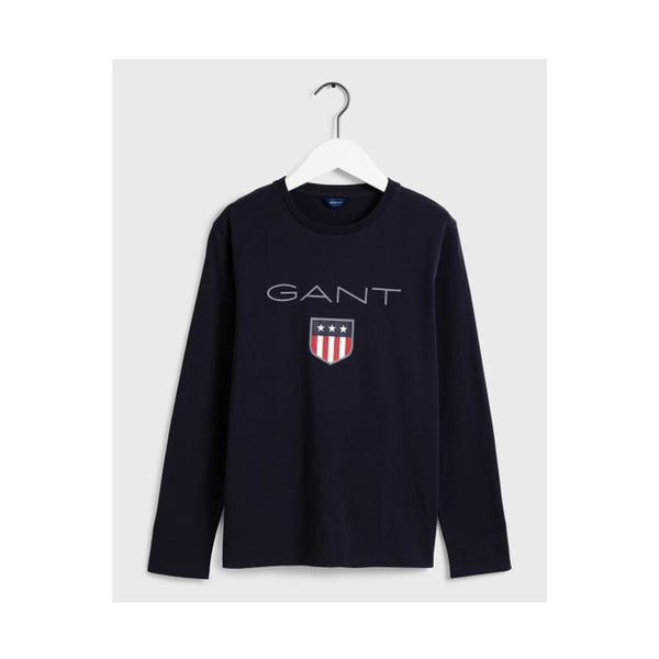 GANT - BOY'S SHIELD LOGO LONG SLEEVE EVENING BLUE