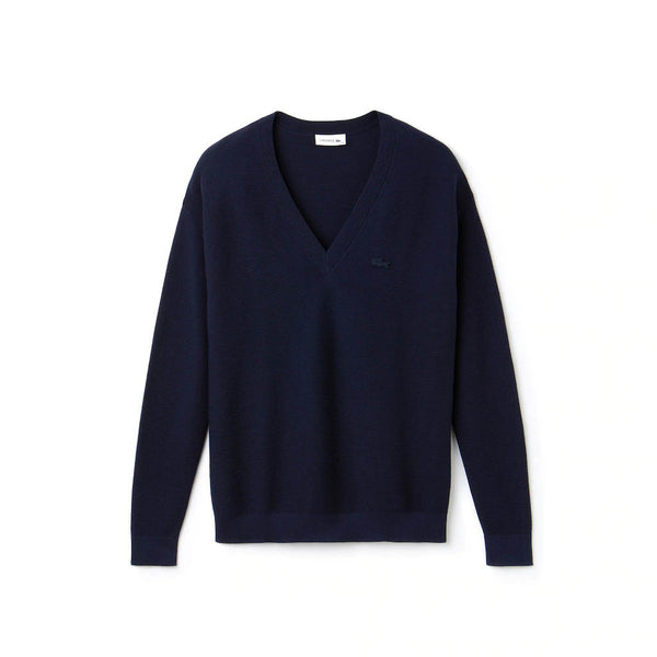 LACOSTE - WOMEN'S V-NECK COTTON JERSEY SWEATER NAVY
