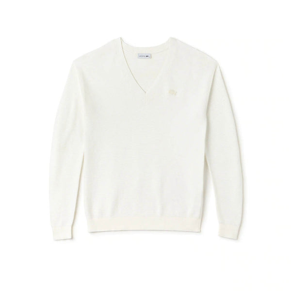 LACOSTE - WOMEN'S V-NECK COTTON JERSEY SWEATER WHITE