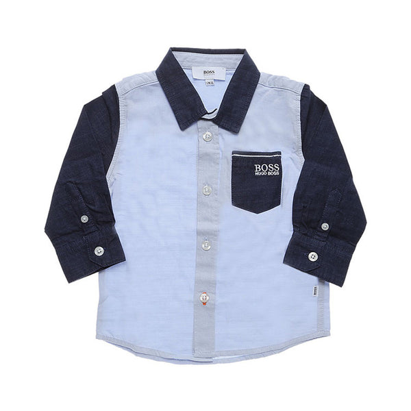 HUGO BOSS - BOYS BUTTON DOWN SHIRT SKYBLUE/NAVY