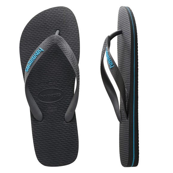 HAVAIANAS - Rubber Logo Lead Grey/Turquoise