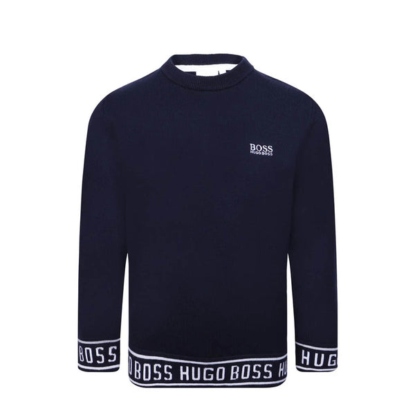 HUGO BOSS - BOYS J25E11 KNIT JUMPER NAVY