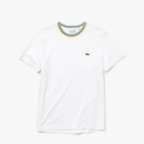 LACOSTE - MEN'S STRIPED CREW NECK COTTON WHITE